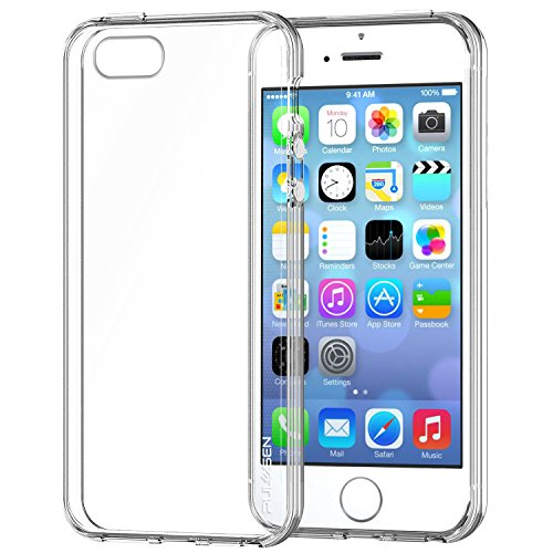 iPhone SE Coque, PULESEN® iPhone SE 5 5S Case Cover [Crystal Transparent] Ultra Mince / Anti-dérapant / NO Bulkiness TPU Silicone Transparent Coque Housse Pour iPhone SE 5 5S