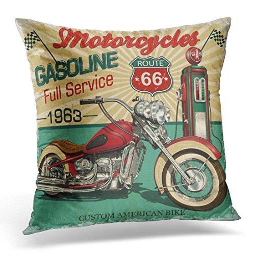 Breezat Throw Pillow Cover Retro Vintage Gasoline Route 66 Classic Motorcycles Biker Moto Decorative Pillow Case Home Decor Square Pillowcase 51F7mUCErAL