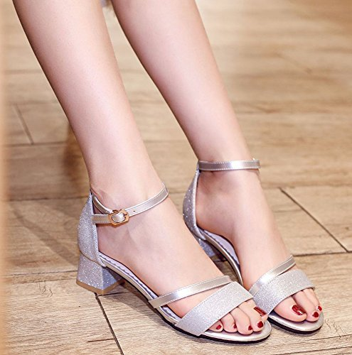 Aisun Silver Heels Mid Sequins Strap Chunky Casual Women's Sandals Ankle H14rxqHCnw
