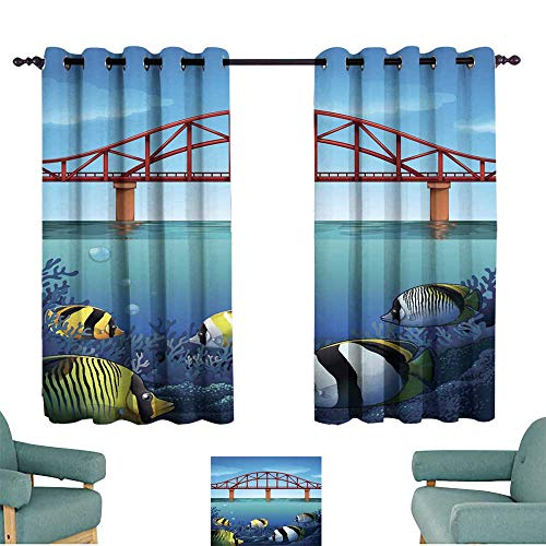 (Warm Family Simple Curtain Bridge Over The Ocean and Underwater Scene Set of Two Panels)