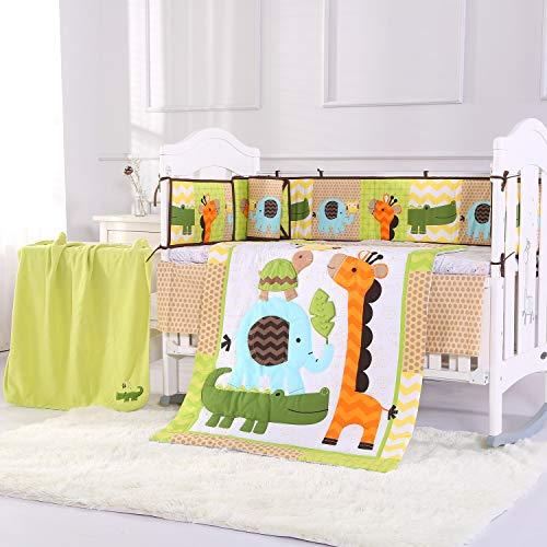 Wowelife Giraffe Nursery Bedding 100% Cotton Upgraded Blue Elephant Yellow Giraffe Green Crocodile Crib Bedding Sets 8 Piece for Baby Girls and Boys with Bumpers and Blanket(Orange Giraffe-8 Piece) (Baby Boy Crib Bedding Orange)