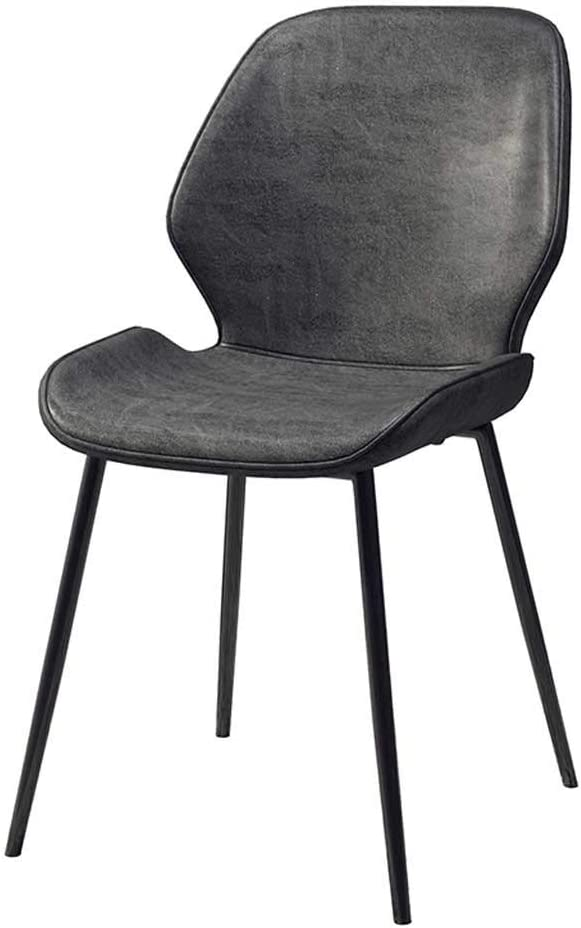 Dining Chairs, Kitchen Leather Dining Room Chairs Metal Legs High Back Kitchen Furniture Office Lounge Soft Seat and Back Living Room Sun Lounger (Color : Dark Gray)