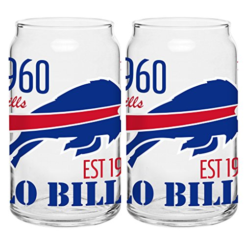 irit Glass Can, 16-ounce, 2-Pack (Buffalo Bills Glass)