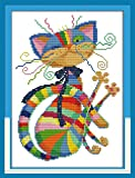 "eGoodn Stamped Cross Stitch Kits Printed Pattern - Colorful Cat 11CT Fabric 12.6"" x 16.5"", Embroidery Art Cross-Stitching Needlework, Frameless"