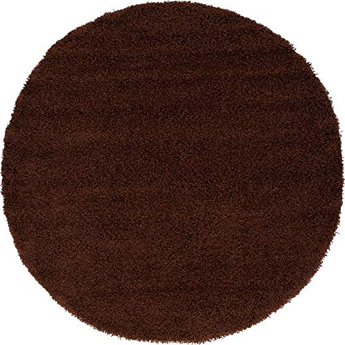 (Unique Loom Solo Solid Shag Collection Modern Plush Chocolate Brown Round Rug (6' 0 x 6' 0))