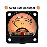 DC 0-100mA Round Analog Panel Meter Ammeter Current Meter with Shunt Yellow/ Blue Backlight (Yellow-Neon Bulb)