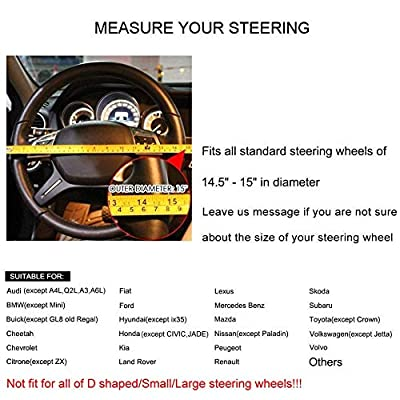 Bestobal Car Leather Steering Wheel Cover Universal 15 inch for Men Women Black Color with Red Lines, Durable, Anti-Slip, Odor-Free: Automotive