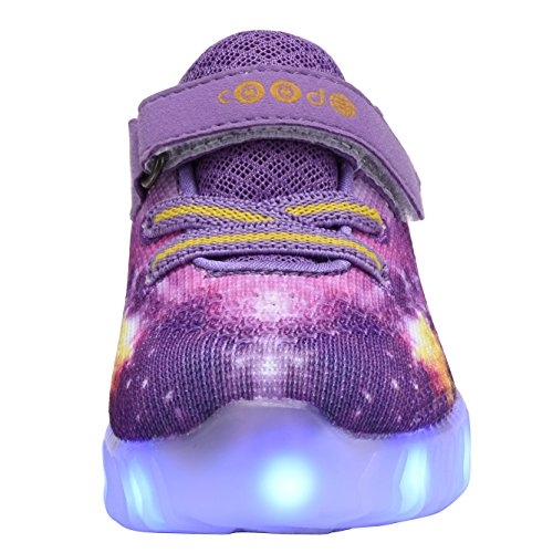Coodo Kids Jongens Meisjes Led Light Up Shoes Knipperende Sneakers (peuter / Nest Kinderen) Paars