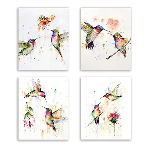 Kairne Abstract Birds Art Print Watercolor Hummingbirds and Flower Branch Canvas Painting,Set of 4(8x10) unframed,Nature Wall Art Poster for Living Room Bedroom Office Decoration