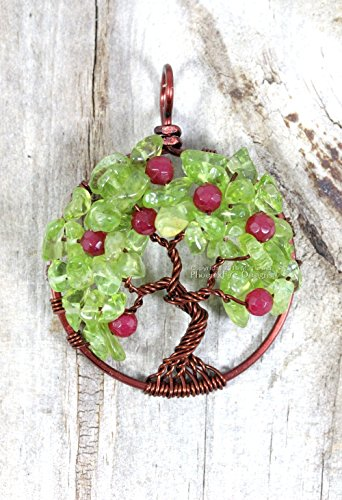 Apple Tree of Life Pendant Brown Wire Wrapped with Peridot Leaves and Ruby Jade Apples Handmade Necklace Teacher - Green Pendant Apple Jade