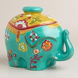 Colorful Ceramic Elephant Cookie Jar/Storage Container/Decor