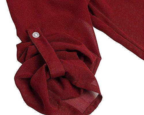 ZhuiKun Femme Top Chemisier Tunique Longues Blouse Mousseline V Vin Manches Zipp Col Rouge r4rqw1a