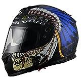 Triangle Motorcycle Street Bike Dual Visor Helmets DOT Approved (Large, Indian Blue)