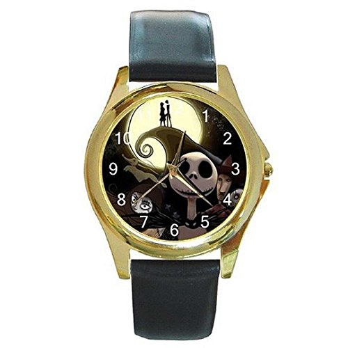 Halloween Jack Skellington on a Womens or Mens Gold Tone Watch with Leather Band -10-15 days shipping