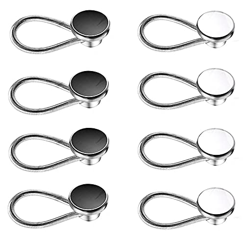 Harsgs 8 Pieces Collar Extenders, Elastic Metal Button Extender Neck Extension for Shirt Dress Coat, White & Black