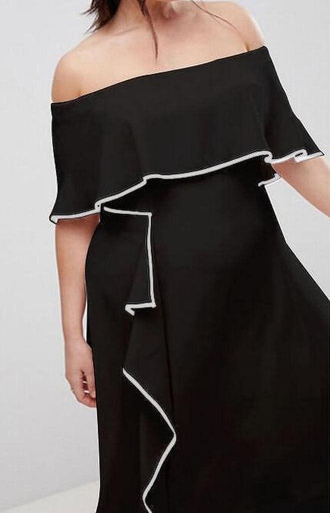 WAWAYAWomen Color Blocked Flare Plus Size Ruffle Work Party OL Midi Pencil Dress