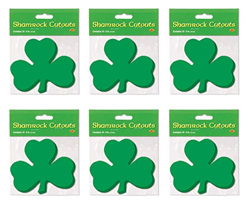 Beistle S33840AZ6 Printed Shamrock Cutouts 60 Piece, 5