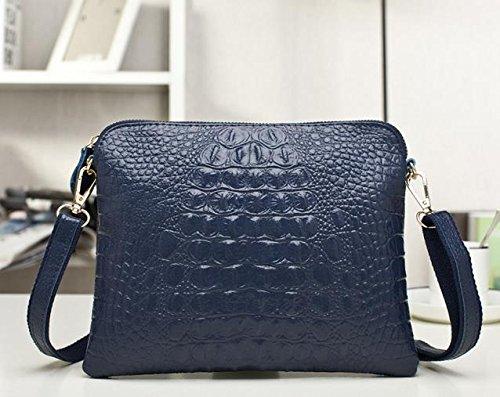 Crocodile Clutch Messenger Bags Handbags Women Genuine Leather Solid Shoulder (Deep blue Color)