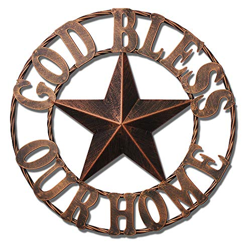 WIPHANY Texas Metal Barn Star Vintage Country Western Home Decor God Bless Our Home The Lone Star ()