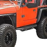 (US) E-Autogrilles Tubular Nerf Bars Side Step Armor Textured Black Rock Guards for 87-06 Jeep Wrangler YJ/TJ(51-0001)