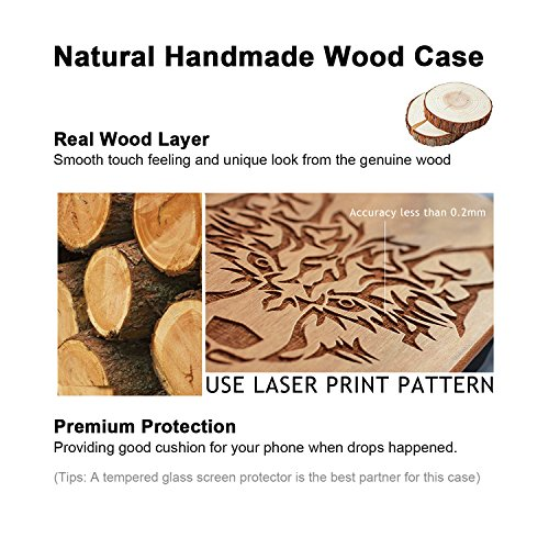 Funda Madera Tallada Protectora Cubierta para iPhone 7 Plus Natural Wood Caja de PC Vintage Bumper Protector Carcasa para Apple iPhone 7 Plus(5.5 inch) Walnut-Compass
