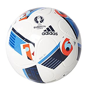 adidas Herren Ball EURO 2016 Junior 290, White/Bright Blue/Night Indigo, 5,...