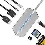 ElementDigital USB C Hub Mac Type C to USB C Charging Port + HDMI + VGA + 3.5 mm Audio Jack Connector + SD CF TF Card Reader + USB 3.0 Multiport Adapter Converter for MacBook Chromebook (Silver)