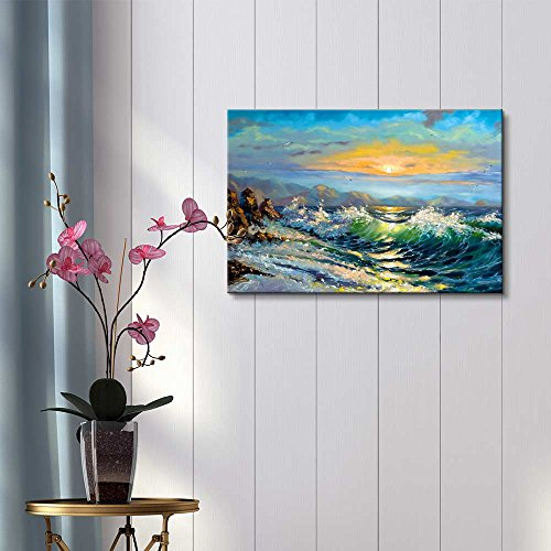 Big Waves in The Sea Oil Painting Style Wall Decor