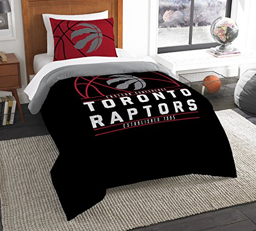 Officially Licensed NBA Toronto Raptors Reverse Slam Twin Comforter and Sham (Bedding Toronto Sets)