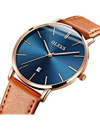 Mens Ultra Thin Minimalist Leather Strap Watches, Business Gift Casual Wrist Watch with Tan Yellow Black Brown...