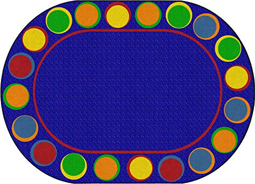 Flagship Carpets FE307-33A Sitting Spots Primary (Seats 20) Children's Classroom Seating Rug, Oval, 6'x8'4