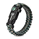 Rescue Survival Knife - OXA Survival Paracord Bracelet - OXA Outdoor Hiking Traveling Camping Kit with Embedded Compass, Fire Starter, Emergency Knife, Whistle, Rescue Rope Camouflage