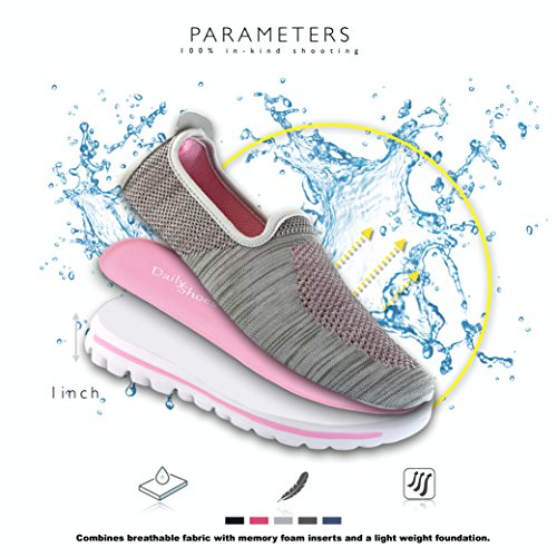 DailyShoes Womens Sneakers Fit Mesh Slip-On Style Walking Shoes With Memory Foam Insoles- Breathable Mesh - Durable Soles - Reliable Traction - Perfect For Walks and JOGS Gray Pink Mesh DGyJ3VDP