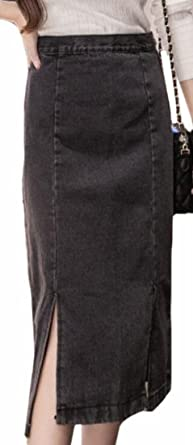 23830b1e5 HTOOHTOOH Women's Zipper Side Slit High Waist Midi Slim Vogue Denim Skirts  Black XS