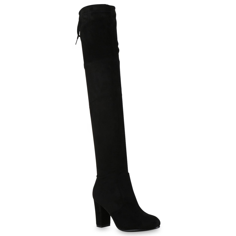 Stiefelparadies Damen Stiefel Overknees Leicht Gefüttert Flandell Schwarz Black