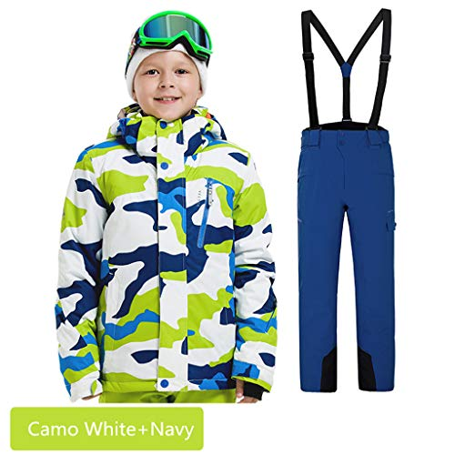 Boys Girls Waterproof Ski Suit Kids Hooded Snowboard Jacket Pants Set Windproof Snowboarding Snow Suit Coat for Child (Camo White+Navy, ()