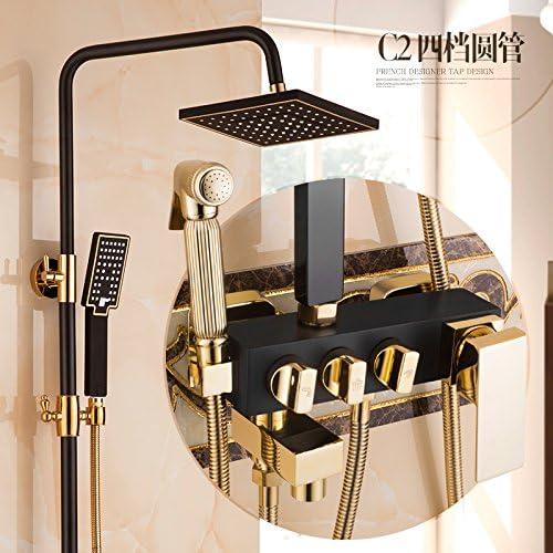 Modern Single Handle Kitchen Faucet Bathroom Sink Faucet Brass Kitchen Mixer Taps European Black Shower Set Black Bronze Hot And Cold Water Faucet Gold Plus Black Shower Setc2 Round Tube Four Gear