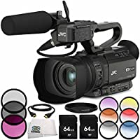 JVC GY-HM200HW House of Worship Streaming Camcorder 7PC Accessory Bundle – Includes 2x 64GB SD Memory Cards 3 Piece Filter Kit (UV + CPL + FLD) + 6PC Graduated Filter Kit + MORE