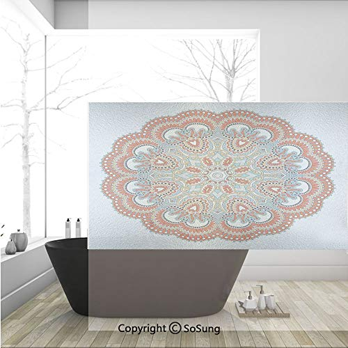 (3D Decorative Privacy Window Films,Ancient Macro Mandala Figure with Nature Elements Like Embroidery Mosaic Print,No-Glue Self Static Cling Glass film for Home Bedroom Bathroom Kitchen Office 36x24 In)