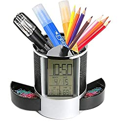 GXOK Digital LED Desk Alarm Clocks Mesh Pen Pencil Holder Calendar Timer Temperature (Color A)