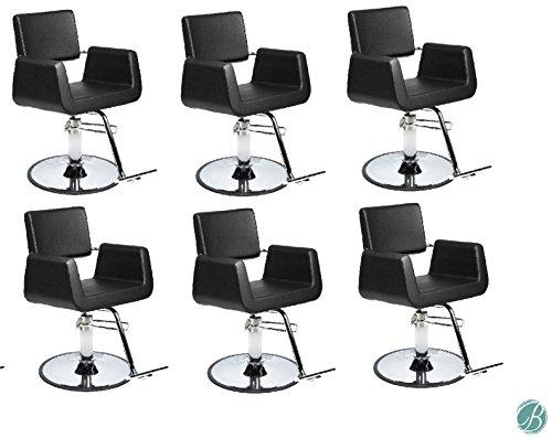 SET OF 6 Beauty Salon Styling Chair ARON BLACK (A12) Square Wide Width Styling Chair Beauty Salon Furniture & - Aron Black