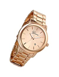 Lancardo Men's Luxury Bright Rose Gold Tone Stainless Steel Wrist Watch with Calendar(Rose Gold)