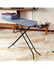 Royalford 110 x 34 cm Ironing Board with Steam Iron Rest, Heat Resistant, Contemporary Lightweight Iron Board with Adjustable Height and Lock System (Blue & White)