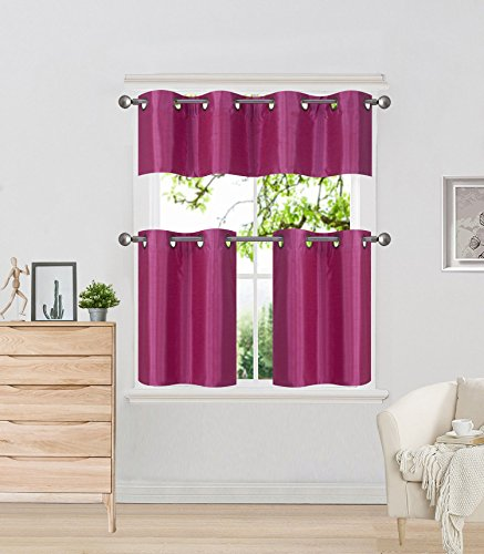 Elegant Home 3 Piece Solid Color Faux Silk Grommet Lined Thermal Blackout Kitchen Window Curtain Set with Tiers 28