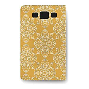 Leather Folio Phone Case For Samsung Galaxy S3 Leather Folio - Mustard Retro Damask Stand Soft by lolosakes