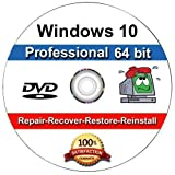 Software : Windows 10 Professional 64-Bit Install | Boot | Recovery | Restore DVD Disc Disk Perfect for Install or Reinstall of Windows
