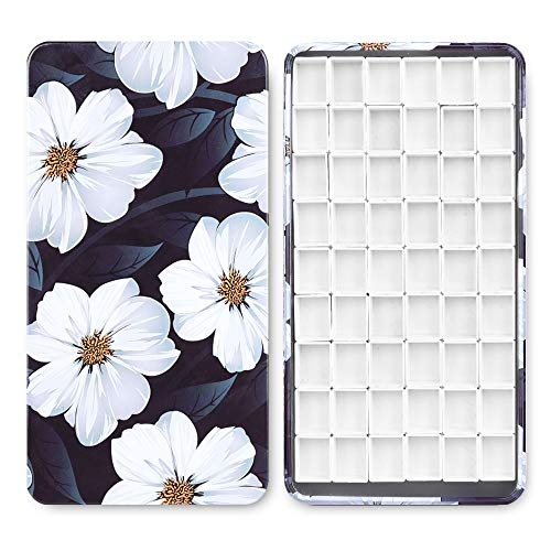 54Pcs Empty Half Pans with Magnetic Stripe Watercolor Paint Travel Tin Palette Case, Artist Paints Half Pan Kits for DIY Watercolor Oils or Acrylics Painting Art Drawing Gardenia Flower
