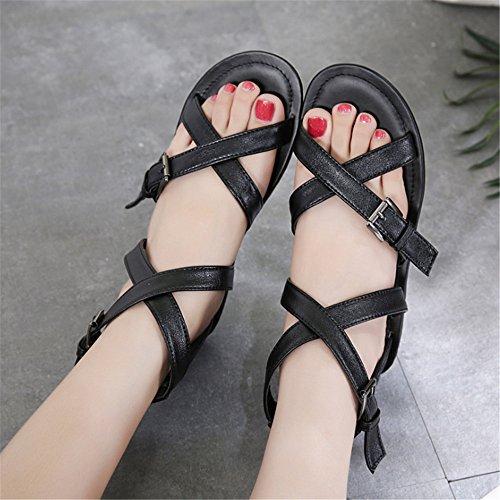 Sandalias Zapatillas Ocasionales Dedos Zapatos Playa Transpirables Abiertos con Romanas De De Negro Mujer Zapatos Los Planos rpwrdq