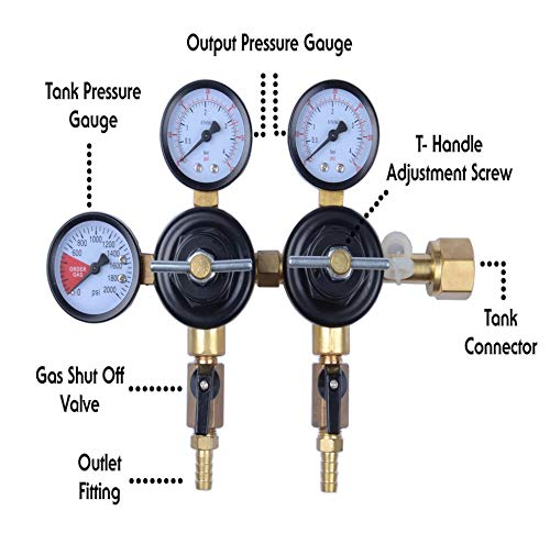 "MOD Complete MDC99007 CO2 Beer Regulator Dual Pressure Kegerator Heavy Duty Features T-Style Adjusting Handle - 0 to 60 PSI-0-3000 Tank Pressure CGA-320 Inlet w/ 3/8"" O.D. Safety Discharge 50-55 PSI"
