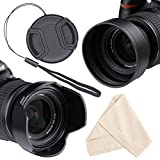 Lens Hood Set, Reversible Tulip Flower + 3 Stages Collapsible Rubber Lens Hood + Center Pinch Lens Cap with Cap Keeper Leash + Microfiber Cleaning Cloth (52MM)